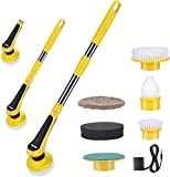iMartine Electric Spin Scrubber, Cordless Power Scrubber 360 with 6 Replaceable Cleaning Shower Scrub Brush Heads, 1 Adapter and Adjustable Handle for Bathroom Kitchen Tub Tile Sink Cleaning