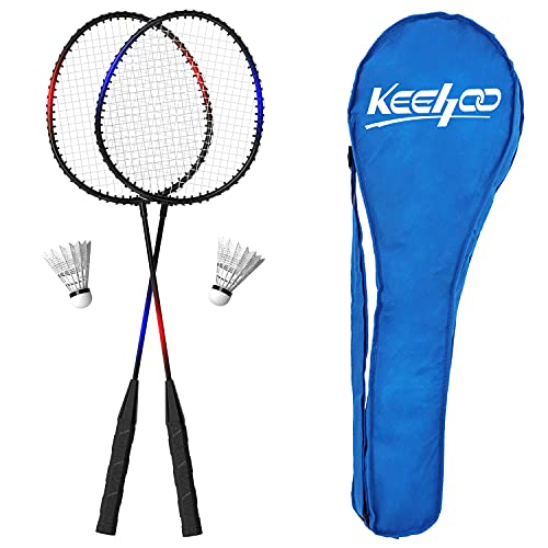 KH 2 Player Badminton Rackets Set,Lightweight & Sturdy,Double Racquets,2 Shuttlecocks and Carrying Bag Included