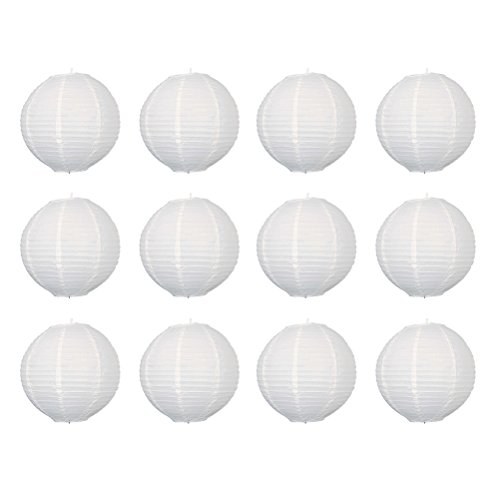 Pixnor Lot de 12 lanternes rondes en papier de 30 cm (blanc pur).