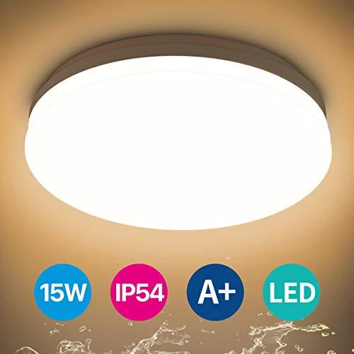 Led Deckenleuchte Badezimmer, 15W 4000K IP54 Wasserdicht Deckenlampe für Feuchtraum/Keller/Flur/Küche/Balkon/Veranda/Lagerraum/Garage, 28CM Rund Weiß Flach