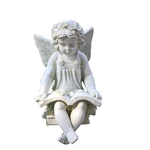 Mankvis Escultura de Estatua de ángel de óxido de magnesio, decoración de jardín Modelo de artesanía Campus fábrica Patio Patio Villa Decoraciones de césped H55CM