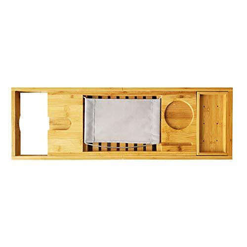 FYBDZCN Badewannenablage Bambus Badezimmer Inhaber Erweiterbar Telefon Inhaber Wasserdicht Badewanne Tablett Mit Ausstreckenden Armen Holz Badregal Natürliche Doppelbox