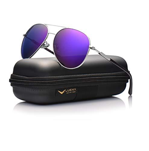 LUENX Aviator Sunglasses Womens Mens Polarized Mirror Purple Lens Silver Metal Frame Large 60mm