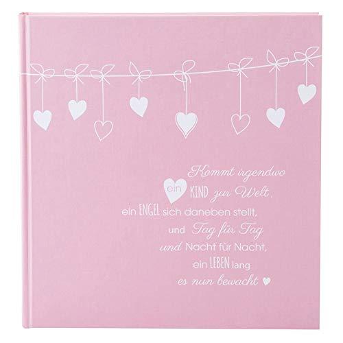 goldbuch 15132 Babyalbum Poetry Pink, 30 x 31 cm, Baby Fotoalbum mit 60 weiße Blankoseiten, 4 illustrierte Seiten, Pergamin-Trennblätter, Einband mit Leinenstruktur, Album in Rosa