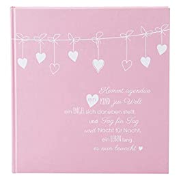 Goldbuch 15132 Baby Album Poetry Pink 30 x 31 cm 60 White Blank Pages 4 Illustrated Pages Protective Dividers Linen…