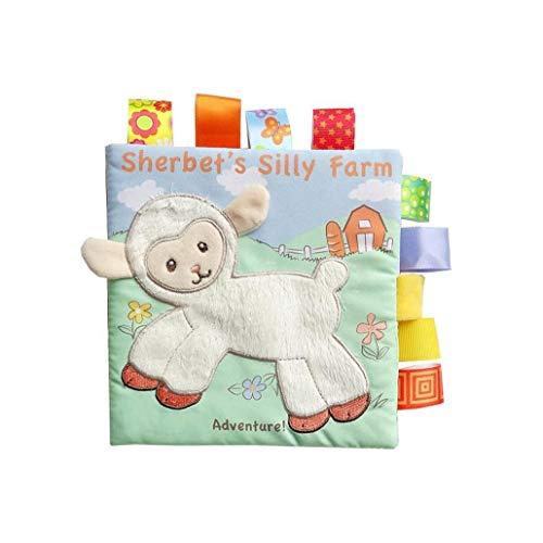 tJexePYK Libro de paño, no tóxico del Animal del bebé Libro de paño, de Felpa Kid paño Libro Infantil del Bordado del paño de los Primeros Libros de educación Juguetes para niños de 0-3 años (Oveja)