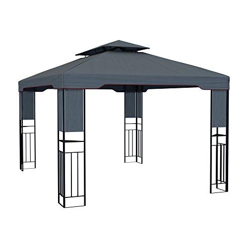 paramondo Deluxe Gazebo Pabellón de jardín Cenador Resistente al Agua, 4 x 3m, Antracita