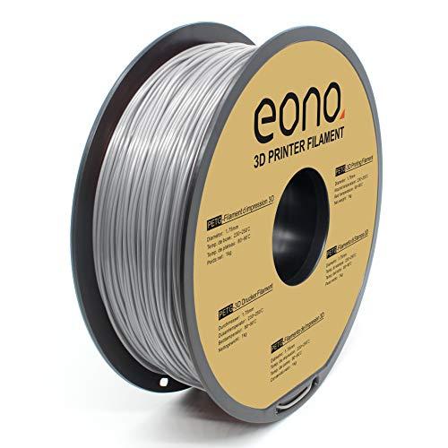 Amazon Brand - Eono filamento per stampa 3D antiaggrovigliamento, materiale PETG, 1.75 mm(± 0.03 mm),1kg,grigio