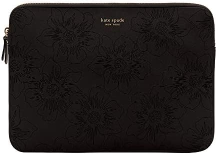 kate spade new york Slim Sleeve for 13 Reverse Hollyhock Matte Shiny Black Gold Zipper Gold product image