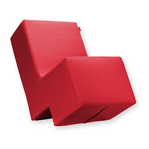 Laxxer Polsterhocker zum Sitzen, Spielen und Rumtoben - Loungemöbel & Spielmöbel für Kinder und Erwachsene - rot