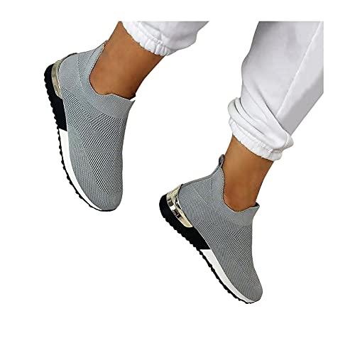 Elegantes Zapatos Planos elásticos sin Cordones, Zapatillas de Deporte para Mujer Zapatos elásticos sin Cordones para Caminar con Soporte de Arco (10.5,Gray)
