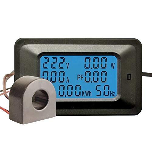 Chanhan Digitales Multimeter AC 110-250 V 20A / 100A Voltmeter Amperemeter Power Energy Monitor Panel Meter Stromzähler LCD Blaue Hintergrundbeleuchtung Display, 100A