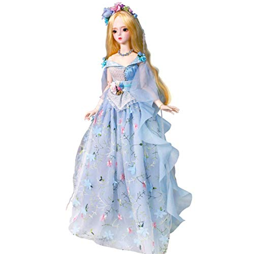 YNSW Muñeca BJD, Vestido De Princesa De Pastel Floral Azul 1/3 BJD SD Doll Girl 24