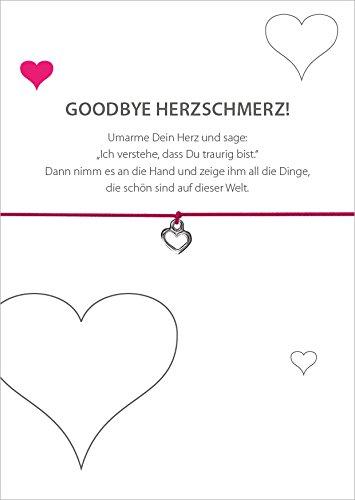 Glücksschmiedin Armband Goodbye HERZSCHMERZ mit Herz Anhänger versilbert, elastischem Textilband in pink und liebevoller Karte:Umarme Dein Herz und sage