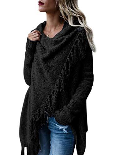Style Dome Damen Strickjacke Offene Jacke Cardigan Asymmetrische Stricken Kurze Mantel Schwarz L