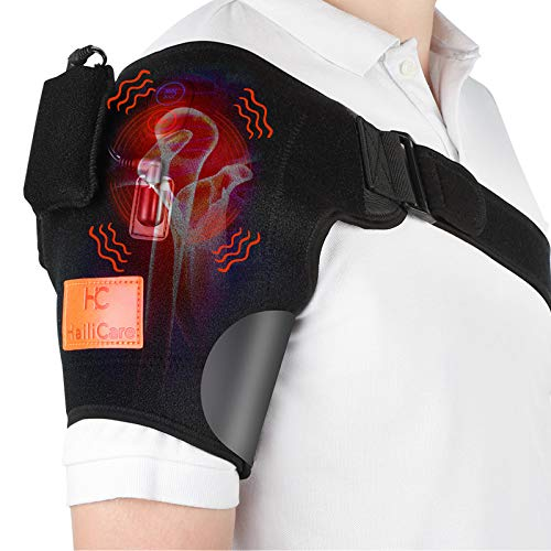 HailiCare Wireless Shoulder Massager Heat Massaging Shoulder Wrap Heated Shoulder Brace Vibration Heated Shoulder Wrap for Relax Muscle Frozen Shoulder Powered by Portable Charger