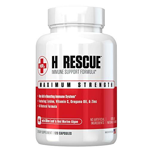 H Rescue Immune Support Formula, Lysine, Zinc, Vitamin C, Oregano Oil, 120 Caps