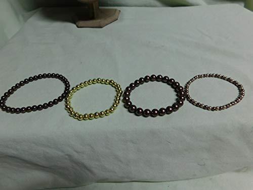 VTG Lot of 4 Gold & Brown Tone Bead Elastic Bracelets HK-1651