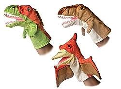 5. Aurora 10″ Dinosaur Hand Puppet Bundle (Set of 3)