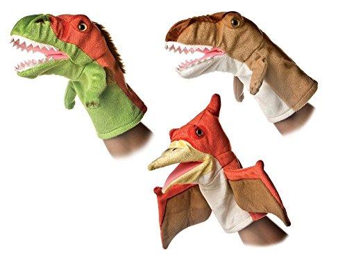 Aurora 10' Velociraptor T-Rex Pteranodon Dinosaur Hand Puppet Bundle
