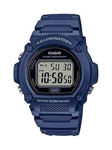 Casio Quartz Fitness Watch with Resin Strap, Blue, 25.5 (Model: W-219H-2AVCF)