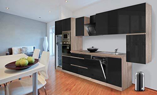 respekta Premium bezuchwytowy aneks kuchenny kuchnia 395 cm dąb cięty surowy imitacja czarny wysoki połysk wraz z cichym domykaniem / lodówką 144 cm i płytą ceramiczną