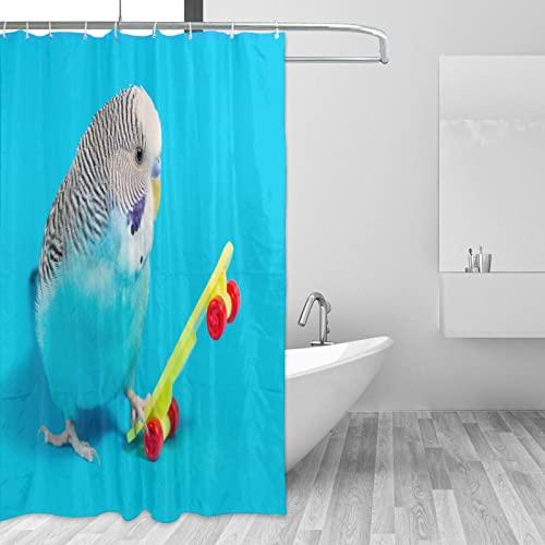 COSNUG Wellensittich Parrot Play Skateboard Duschvorhänge für Badezimmer 152 x 183 cm mit 12 Haken, benutzerdefinierte wasserdichte Badezimmervorhänge für Mädchen & Jungen