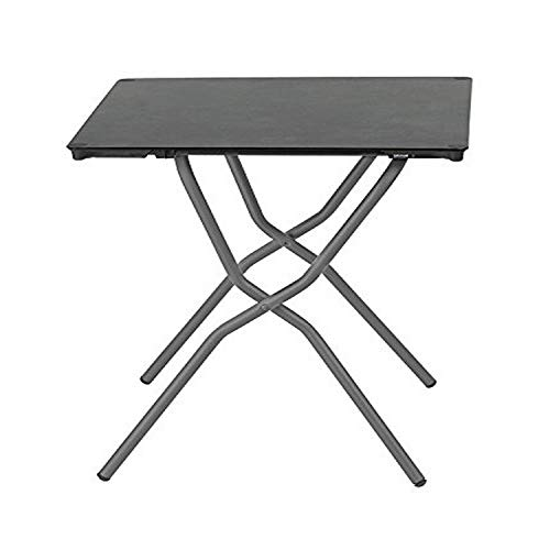 Lafuma Table de jardin carrée, 68 x 64 cm, 2 places, Pliable, Protection intempéries, Anytime, Couleur: Volcanic / Tube Gris Basalte, LFM2714-8579