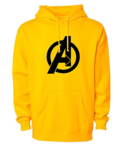 More & More Unisex Regular Fit Super Hero Avengers Printed Cotton Hoodies (Avengers;Yellow;S)