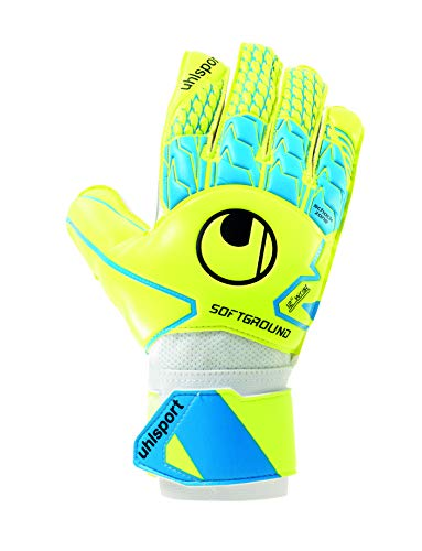 uhlsport Soft Advanced Portero, Guantes de fútbol, Unisex Adulto, Amarillo Fluorescente/Cian/Blanco, 11