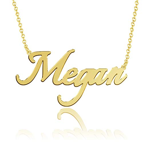 SOUFEEL Name Necklaces Pendant Personalized Necklace Custom Made Nameplate Gifts Copper Plated Silver, Rose Gold, 14K Gold for Her, Girls, Mother, Women, Men, Boys, Kids