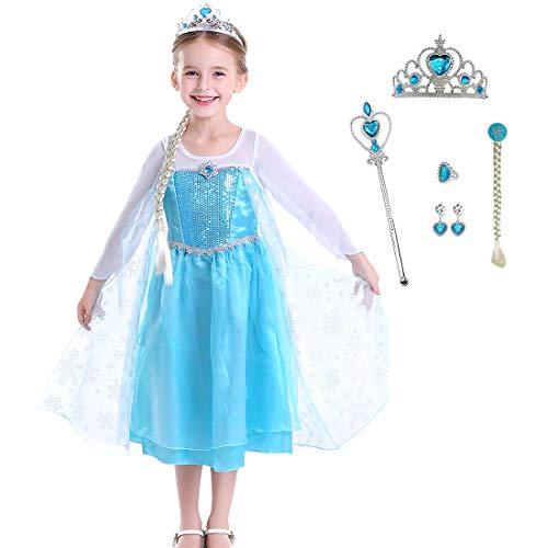 Baterflyo Disfraz de princesa de tul azul con accesorios para disfraz de Halloween, carnaval, cosplay, fiesta