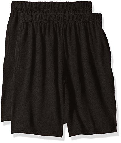 Hanes Big Boys Jersey Short (Pack of 2), Black, L