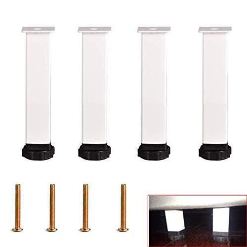 DX tafelpoten van metaal, zwarte meubelpoten set van 4, verstelbare bedpoten, koudgewalste ijzeren voeten, reservelamiek, bijzettafel, kast, televisiekast, met schroeven (18 cm)