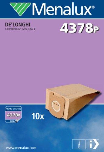 Menalux 4378P Lot de 10 sacs en papier pour aspirateurs De'Longhi Colombina/XLF 1200, 1300 E