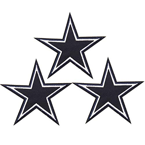 U-Sky Iron on Patches, 3pcs Black Five-Pointed Star Pentagram Iron-on Patch for Clothing, Size: 3.6x3.3inch