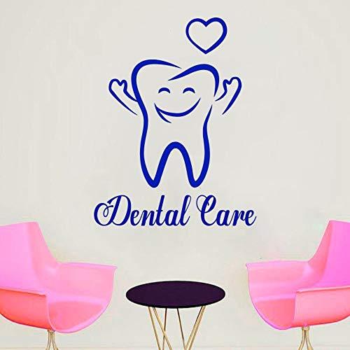 Vkjrro 63x49cm (Colores y tamaños Personalizados) Adhesivo de Pared de Cuidado Dental Adhesivo Decorativo para Escritorio de recepción de clínica Dental Adhesivo de Vinilo removible para el cuida