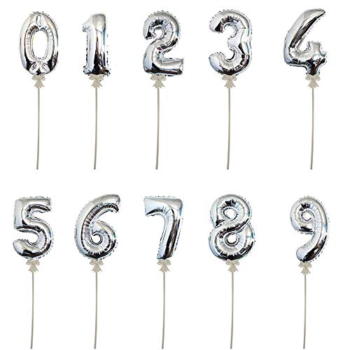 Warenfux24 Folienballon mit Stick, selbstaufblasend, Höhe 20 cm, Zahlen 0-9 (4)