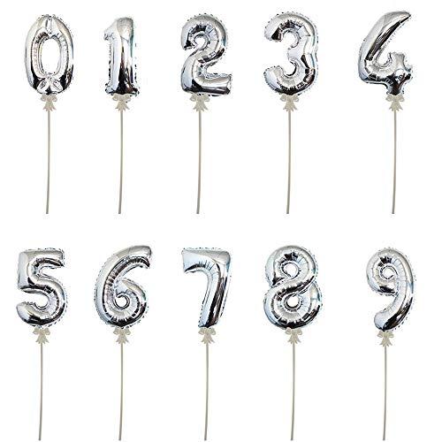Warenfux24 Folienballon mit Stick, selbstaufblasend, Höhe 20 cm, Zahlen 0-9 (2)