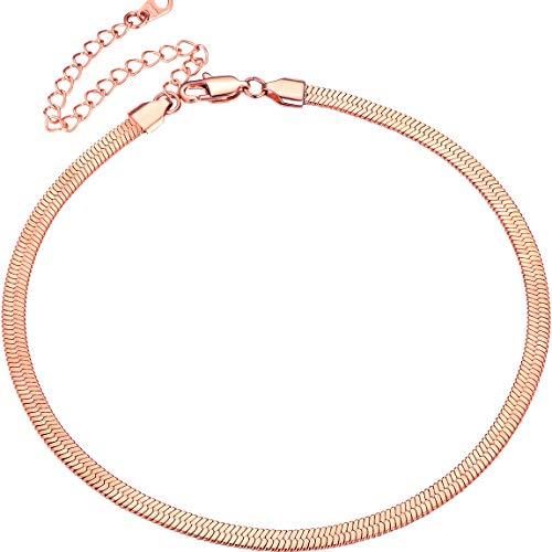 ChainsPro Collana Girocollo in Oro Rosa, Catene in Oro Rosa da 5 mm per Ciondolo, Catena Regalo per Anniversario di Compleanno di Ragazze/Donne