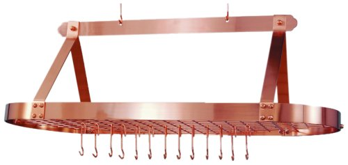 Old Dutch Oval Hanging Pot Rack with Grid & 24 Hooks, Satin Copper, 48 x 19 x 15.5 Copper Plated Oval Pot Rack