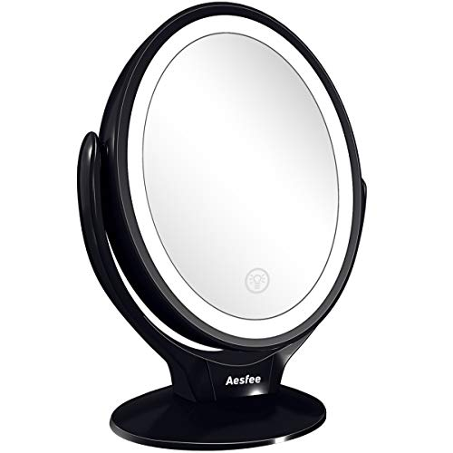Espejo de Maquillaje de Doble Cara con Luces LED, Espejo Maquillaje de Aumento 1x/7x con Rotación de 360 Grados,Pantalla Táctil Ajustable de Brillo,Recargable,Espejo iluminador Portátil para Viajes