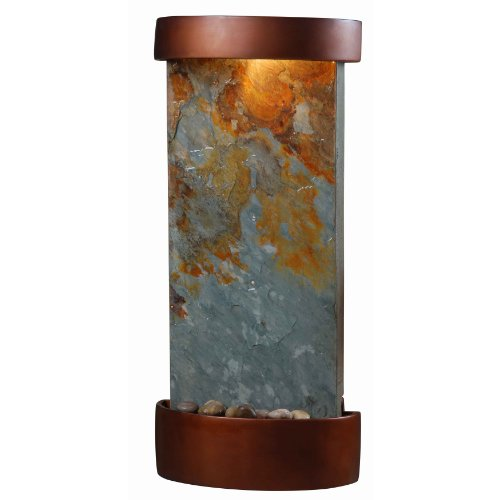 Kenroy Home #53238SL Midstream Indoor Table/Wall Fountain in Natural Slate with Copper Finish Accents