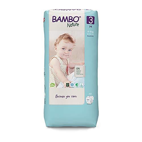 Bambo Nature Pañales ecológicos de alta calidad, tamaño medio 3 (9-18lb/4-8kg) alto, paquete de 52