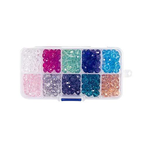 GARLIC PRESS 1Pcs Juego de Cuentas Coloridas Abalorios de Material Cristal Juguete para Hacer Pulseras Collar Hecho a Mano de Bricolaje Fabricación de Joyas para Adultas Niños 10 Colores (0.8_cm)