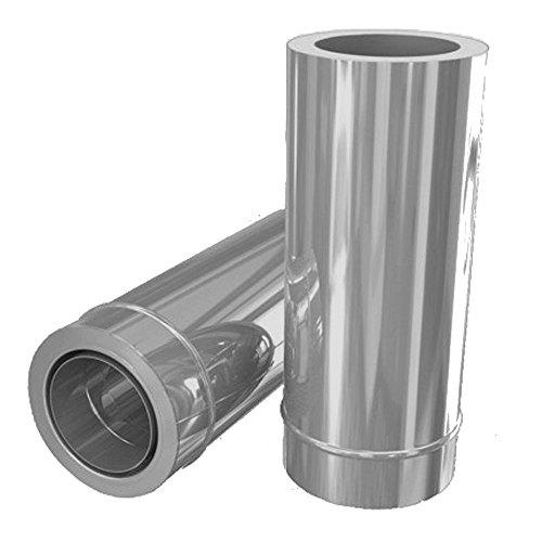Edelstahlschornstein Wanddurchführung 500 mm DW 120 kürzbar mit Wandfutter inkl. Klemmband
