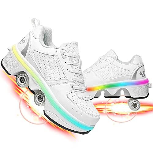 Dytxe Zapatos con Ruedas para Niños Y Niña Led Luces Zapatillas con Ruedas Se Puede con Ruedas Carga con USB Automática Calzado De Skateboarding