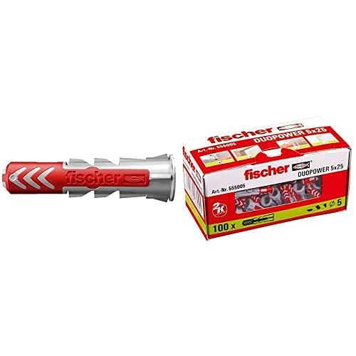 Fischer Taco Duopower 10X50 / (Caja De 50 Uds), 555010, Gris Y Rojo, 0, Set Piezas + 555005 Taco Duopower, 0 W, 0 V, Gris, 5X25, Set De 100 Piezas