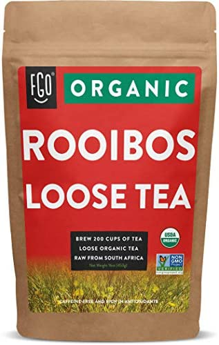 Organic Rooibos Loose Leaf Tea Brew 200 Cups Raw from South Africa 16oz 453g Resealable Kraft product image