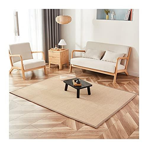 JIAJUAN Natural Bambus Teppich, rutschfeste Schwammsandwich Schachtfenster Bodenmatte, Atmungsaktiv Wohnzimmer Balkon Faserbereich Läufer, Benutzerdefinierte Größe (Color : A, Size : 120x220cm)